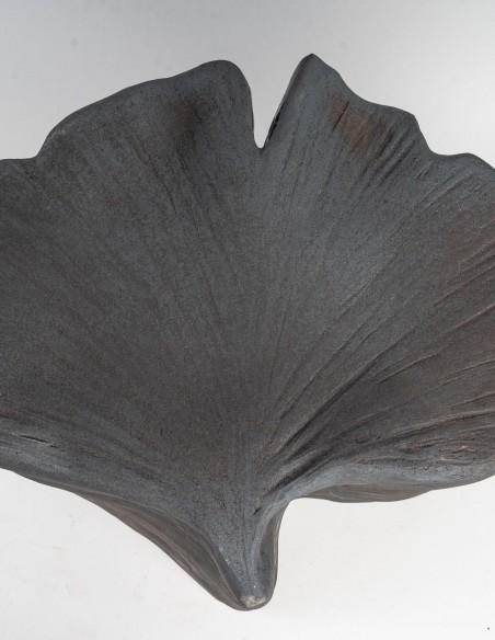 "1644-Sculpture en céramique ""gingko"" par Marc Albert"